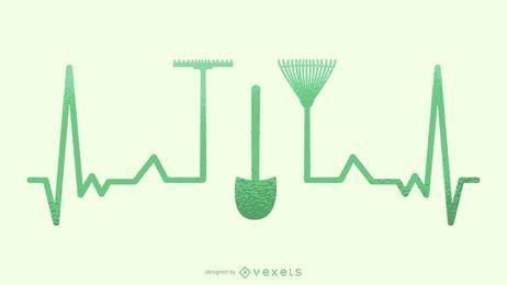 Silhueta de ilustração de batimento cardíaco de jardinagem