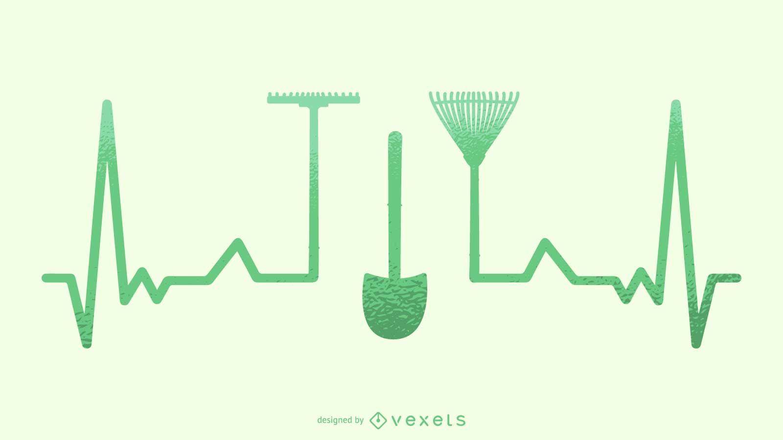 Silueta de ilustración de latido del corazón de jardinería