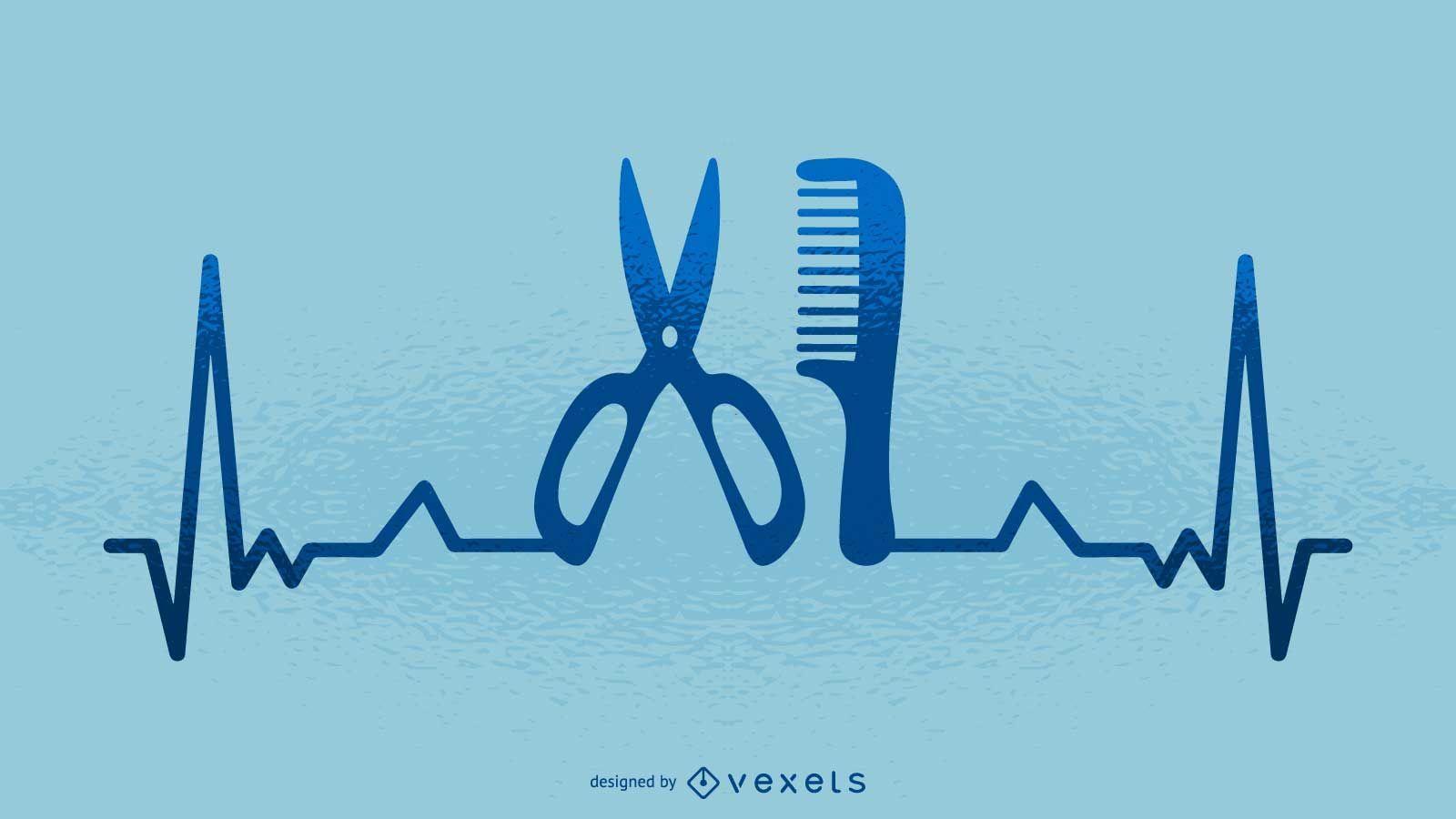 Hairdresser heartbeat illustration