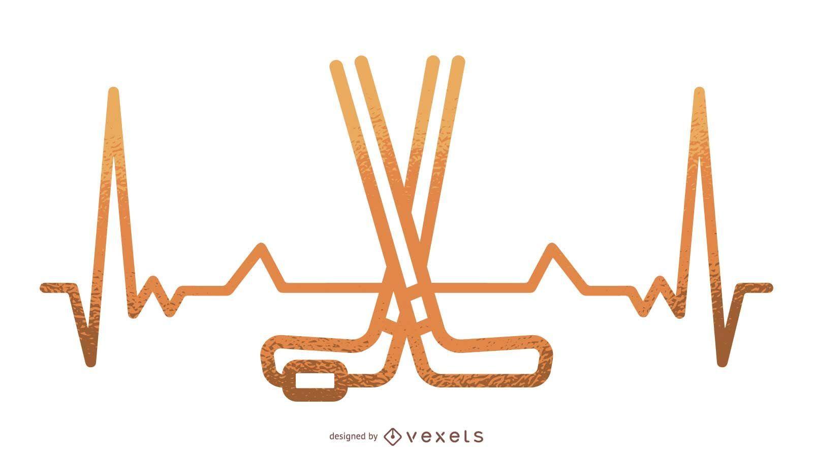Ilustración de latido del corazón de hockey sobre hielo