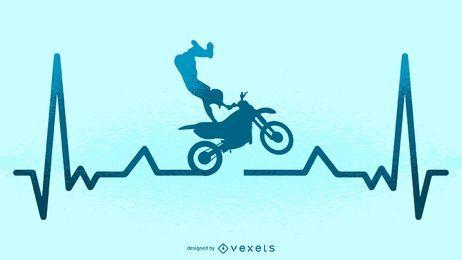 Ilustração de batimento cardíaco de motocross
