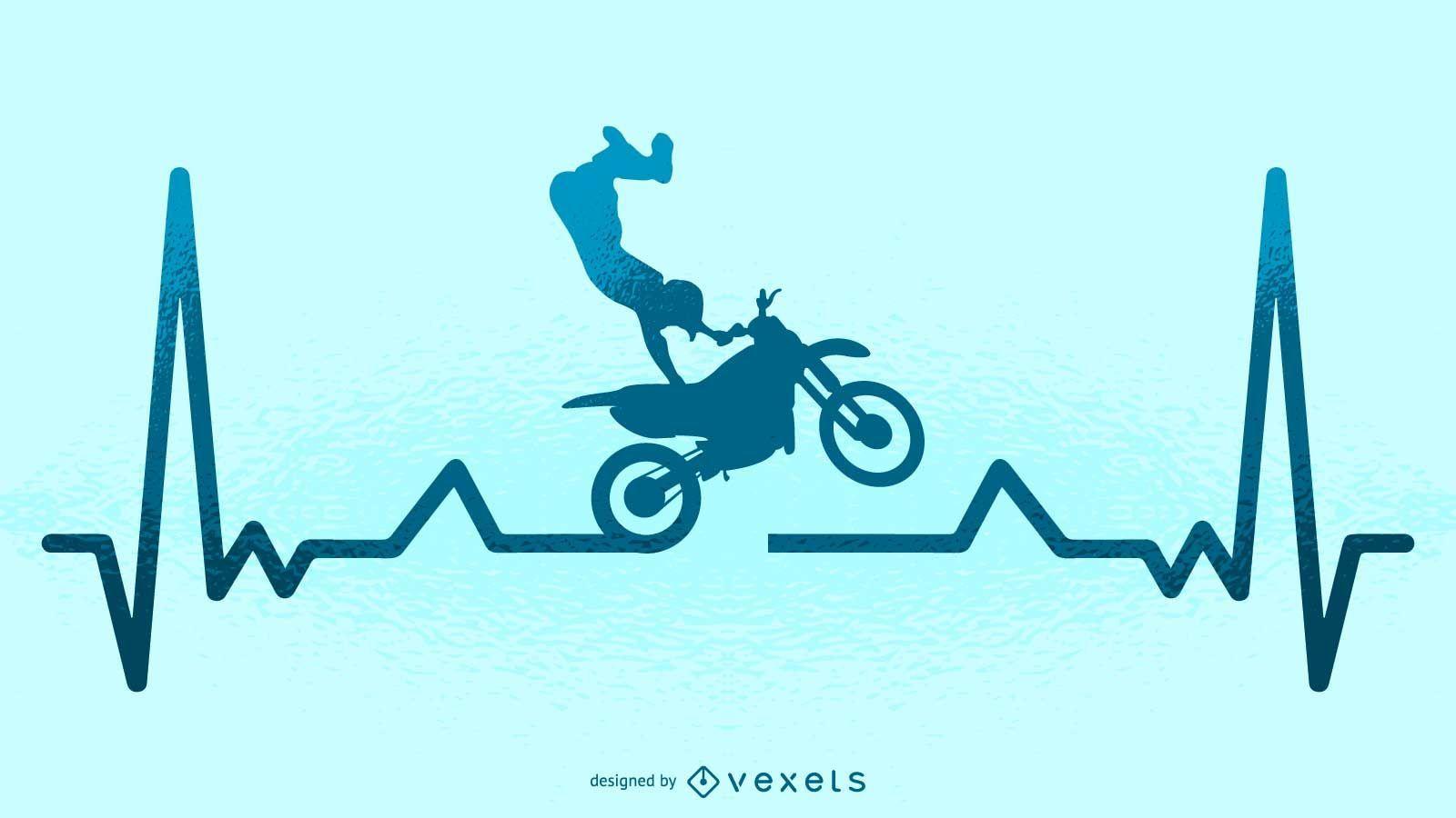 Ilustración de latido del corazón de motocross