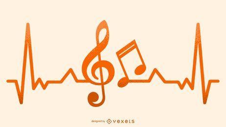 Ilustración musical del latido del corazón