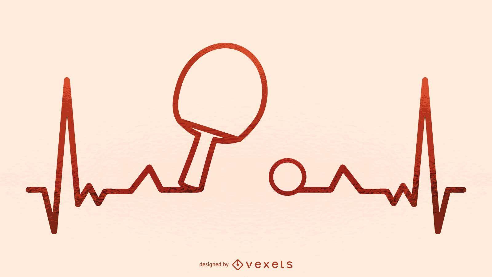 Ilustración de latido del corazón de ping pong