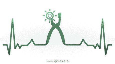 Ilustração de batimento cardíaco de sapateiro