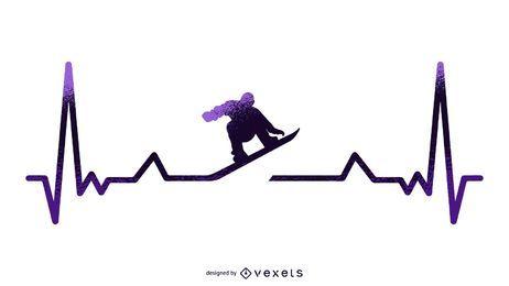 Ilustração de batimento cardíaco de snowboard