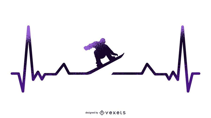 Snowboard Heartbeat Illustration
