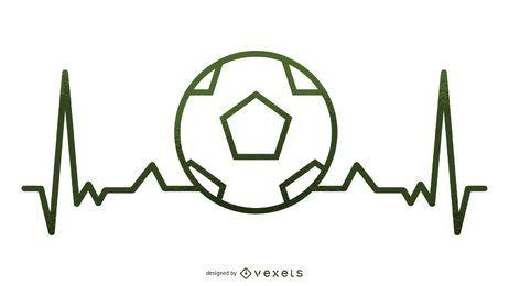 Ilustración de latido del corazón de fútbol