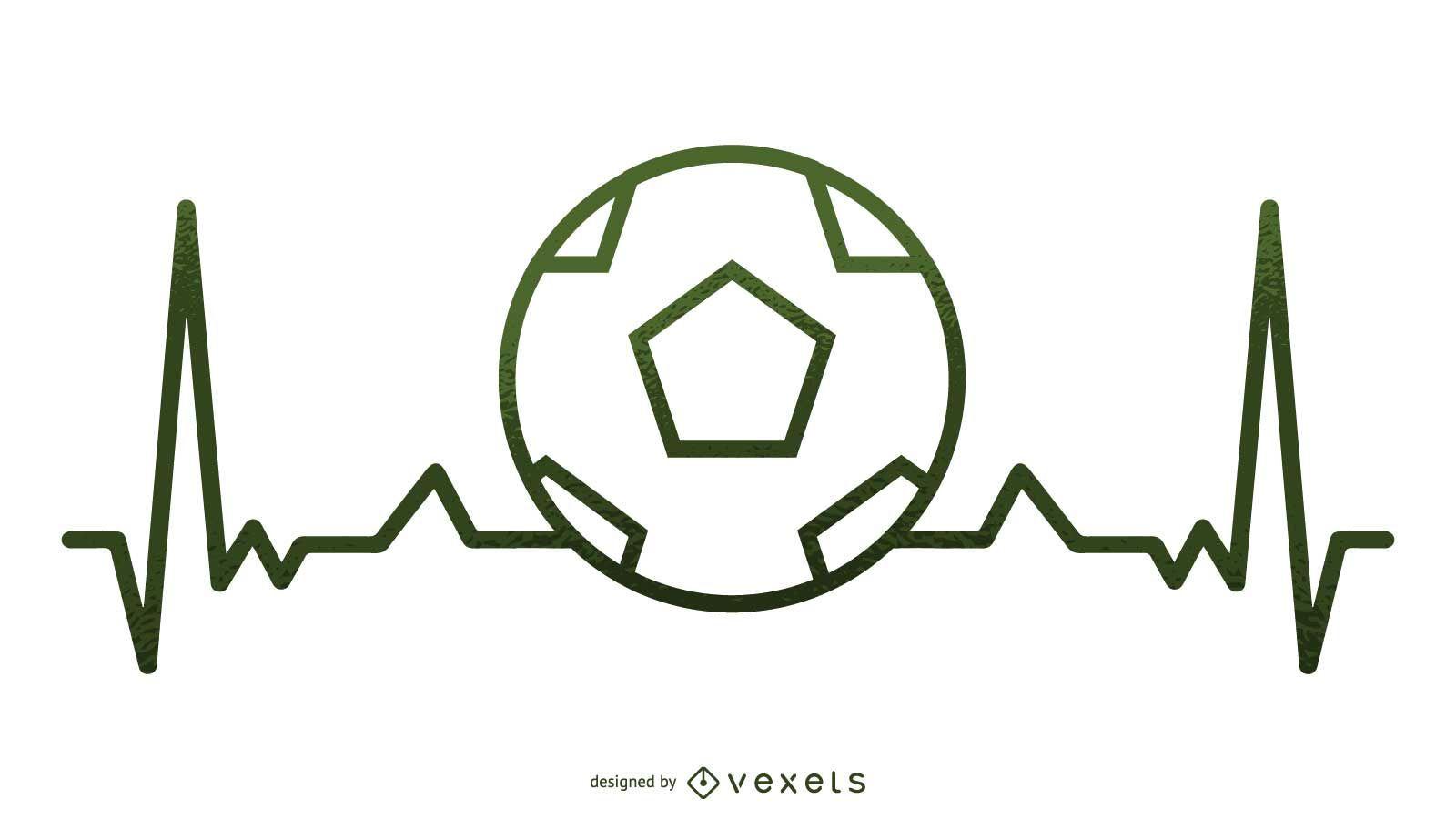 Soccer Heartbeat Illustration