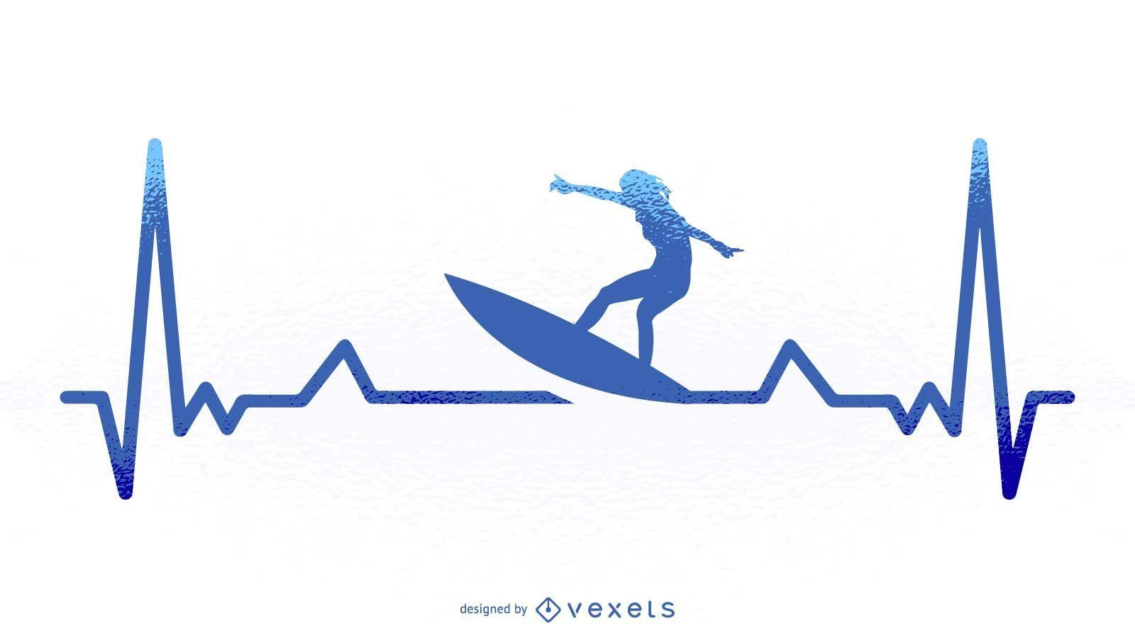 Ilustración de latido del corazón de surf