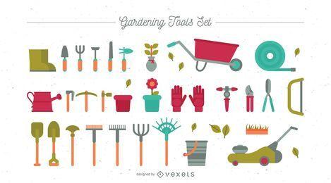 Conjunto de herramientas de jardinería planas