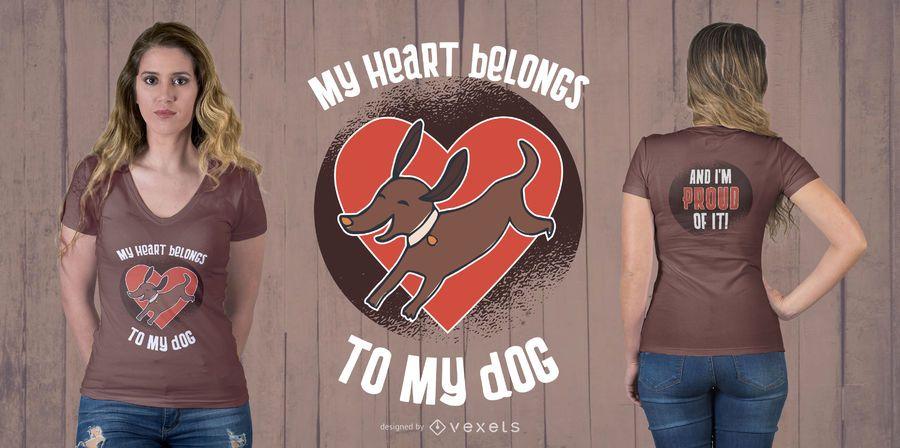 Projeto do t-shirt do coração do cão