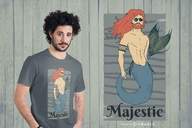 Diseño de camiseta majestuosa de Merman