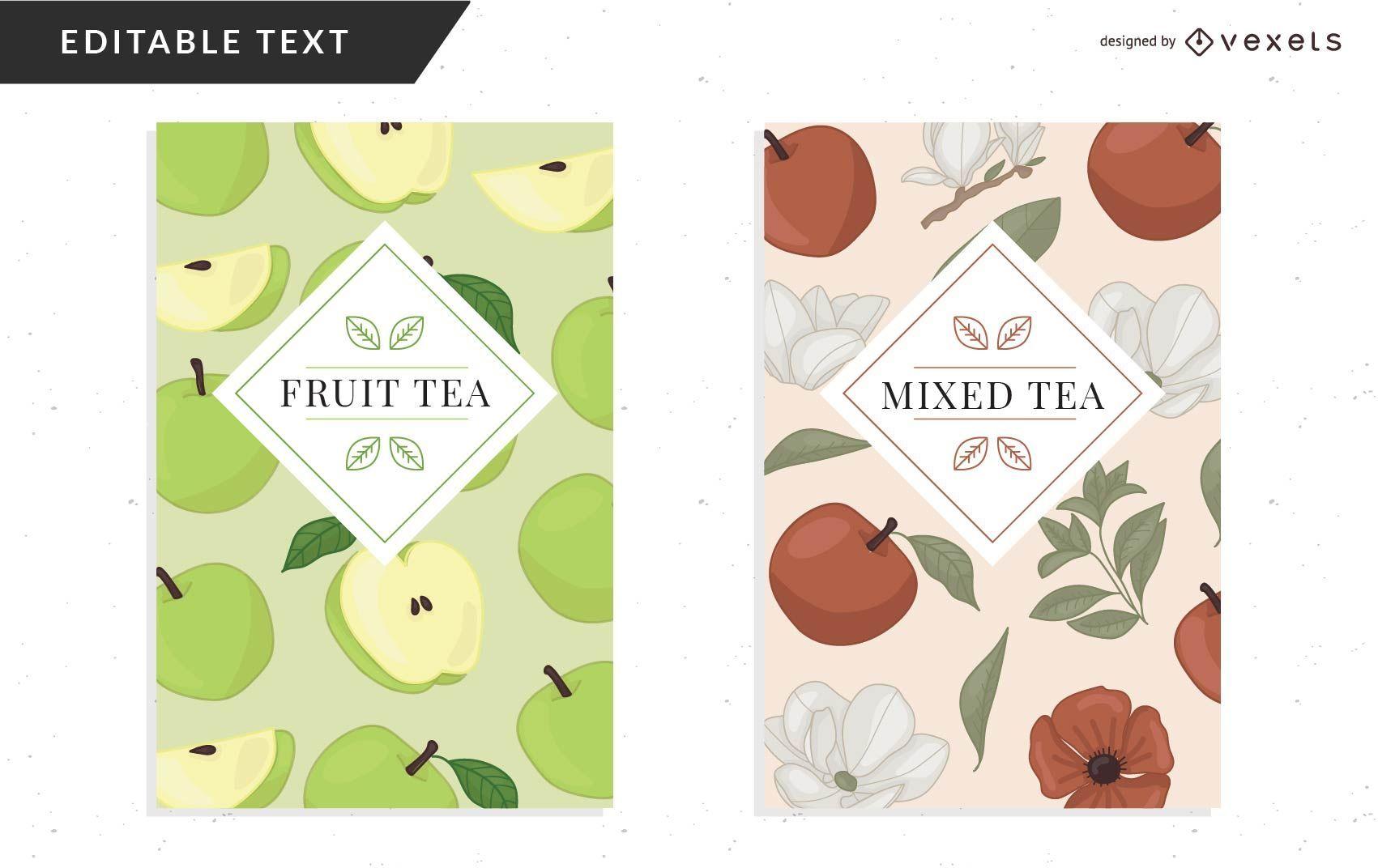 Plantilla de diseño de empaque de té