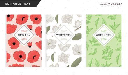 Plantilla de embalaje de té floral