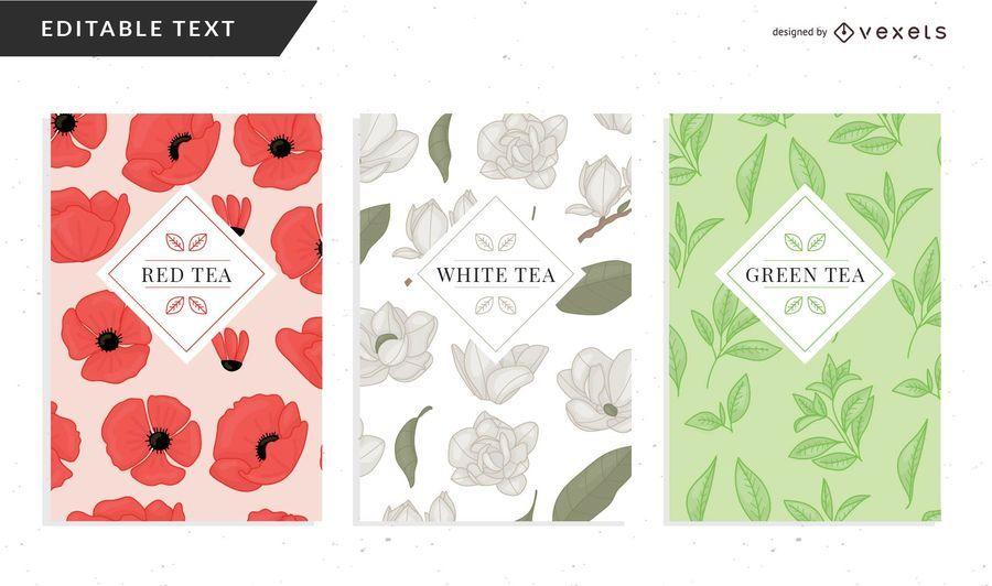 Modelo de embalagem de chá floral