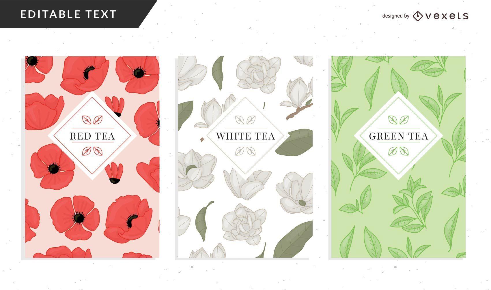 Modelo de embalagem floral para chá
