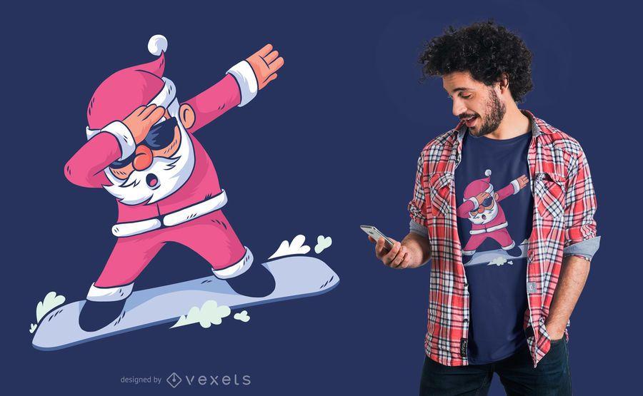 Diseño de camiseta de snowboard Santa Dab