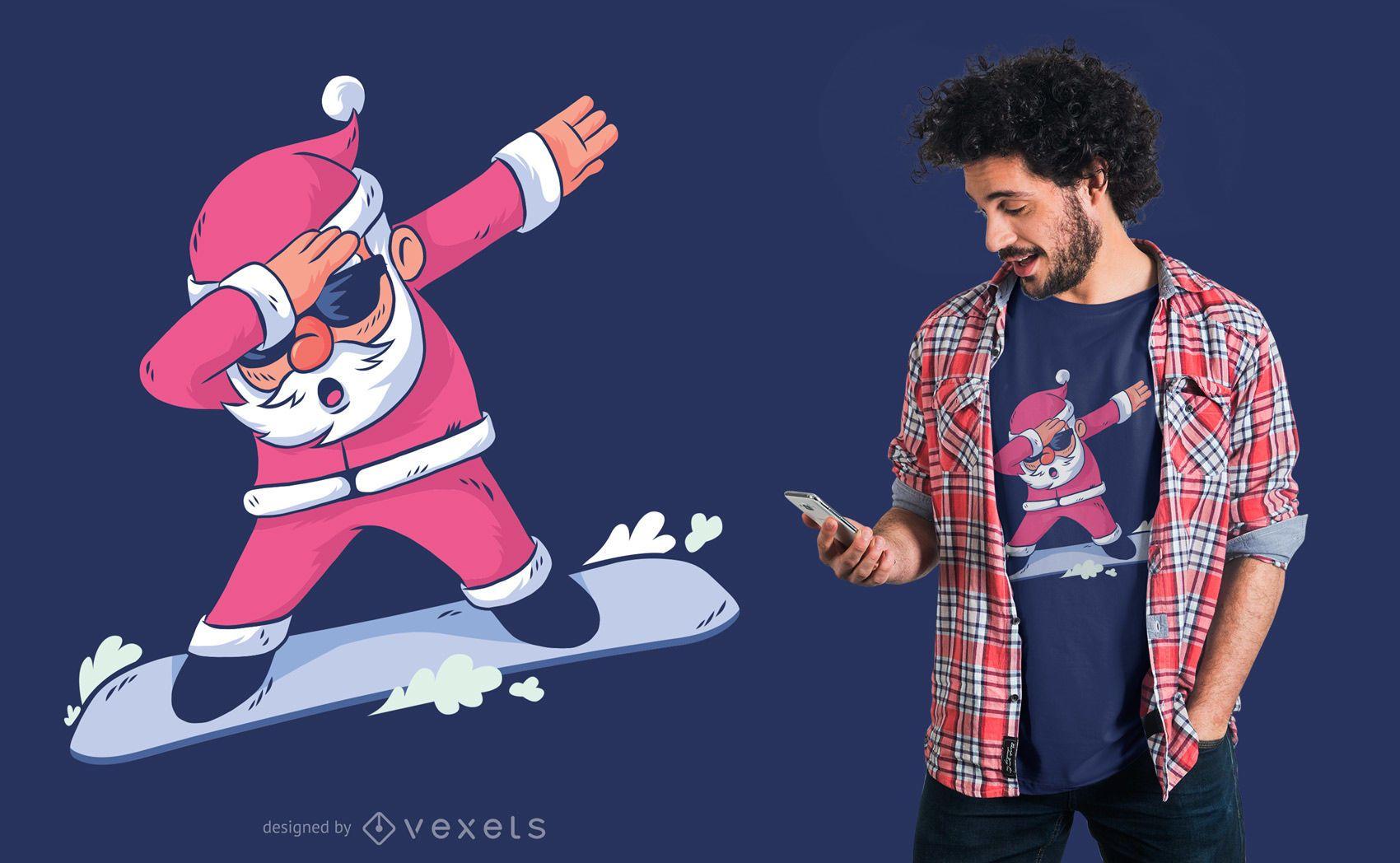 Dise?o de camiseta Snowboard Santa Dab