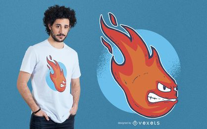 Projeto do t-shirt da cara da bola de fogo