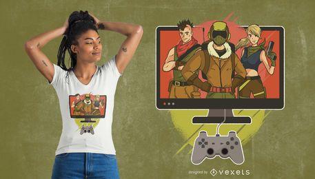 Design de t-shirt de personagens de jogos