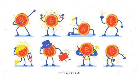 Conjunto de ilustración de personajes de Bitcoin