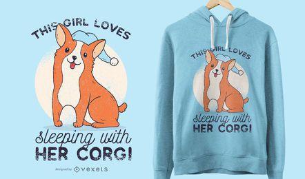 Diseño de camiseta Sleepy Corgi