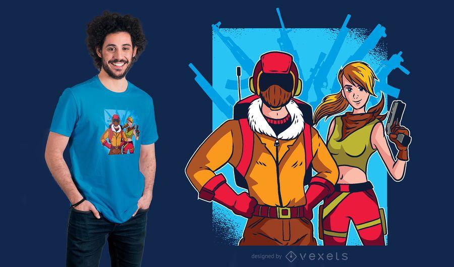 Projeto do t-shirt dos caráteres de Fortnite