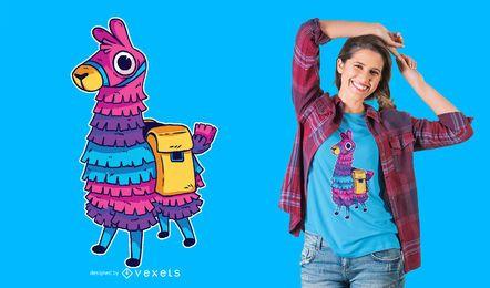 Diseño de camiseta de piña llama