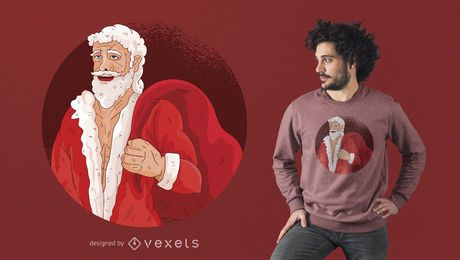 Buffed Santa With Gifts T-Shirt Design