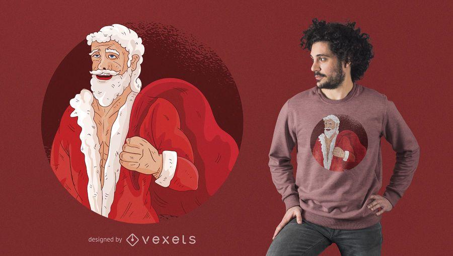 Buffed Santa With Gifts T-shirt Design