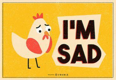 Traurige Hühnerillustration