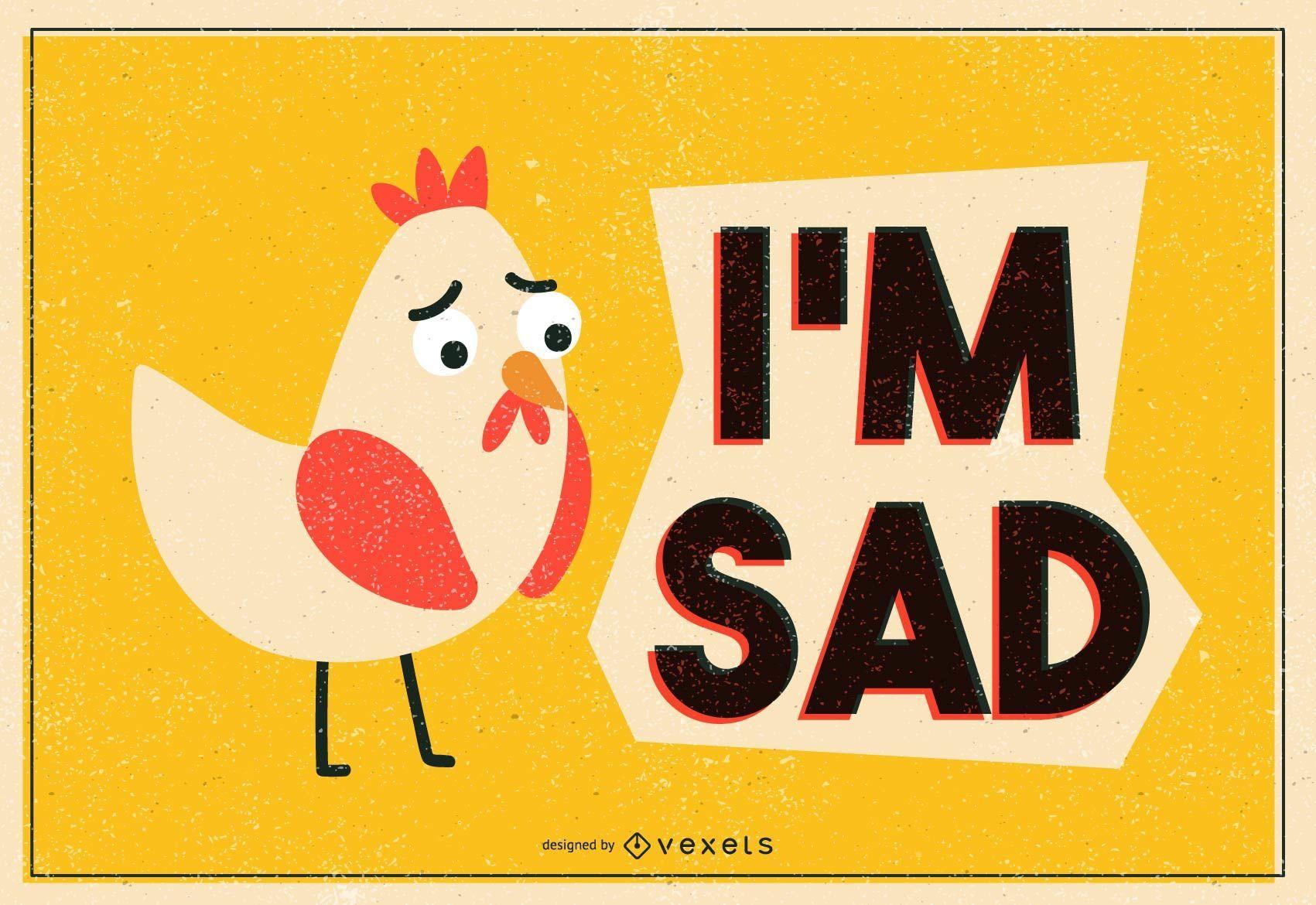 Sad Chicken Illustration