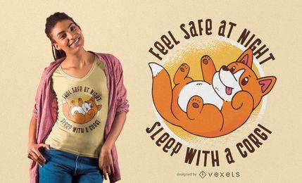 Diseño de camiseta Dormir con Corgi