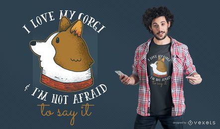 Eu amo meu projeto do t-shirt do Corgi