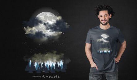 Diseño de camiseta de paisaje nocturno