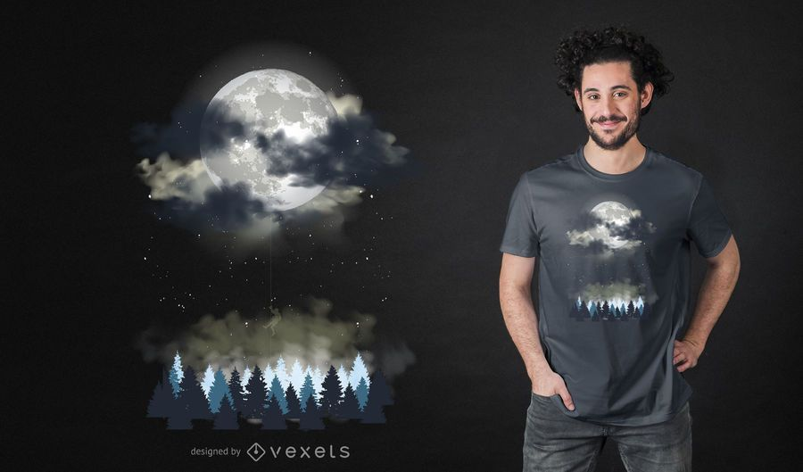 Night Landscape T-shirt Design