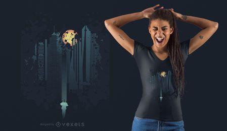 Projeto do t-shirt da fantasia da skyline