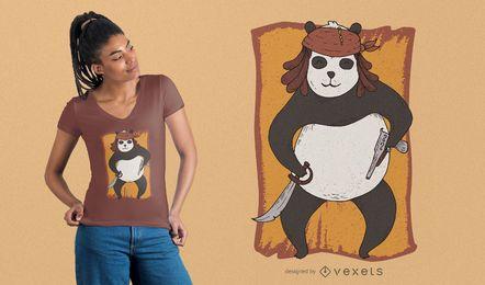 Projeto do t-shirt do pirata da panda