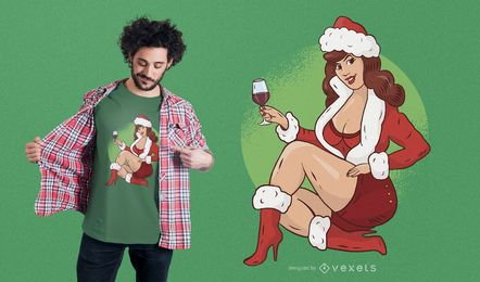 Pin Up Girl Design de t-shirt de Natal