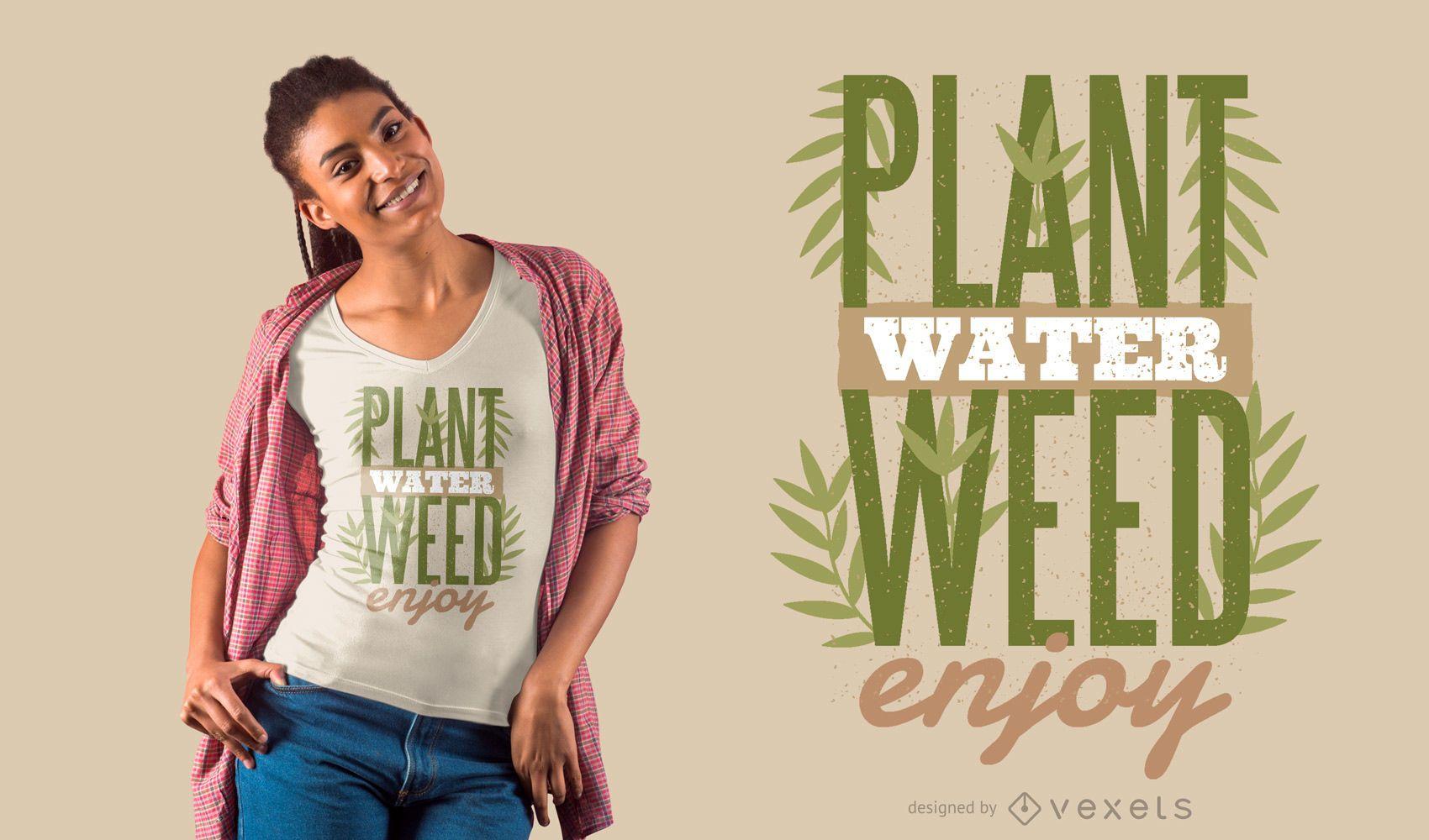 Diseño de camiseta de cita de plantas