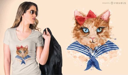 T-shirt do gato da aguarela