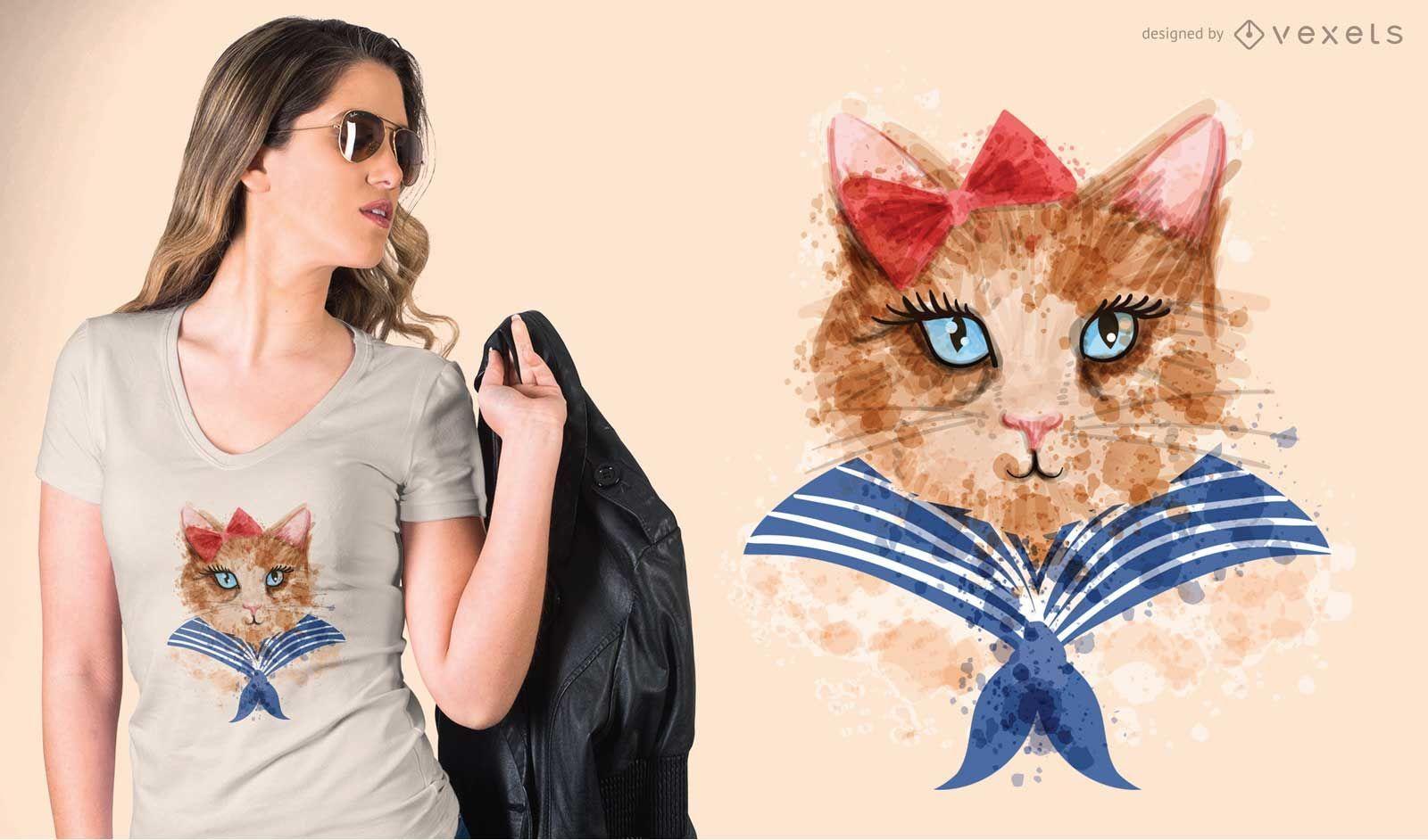 Camiseta gato acuarela