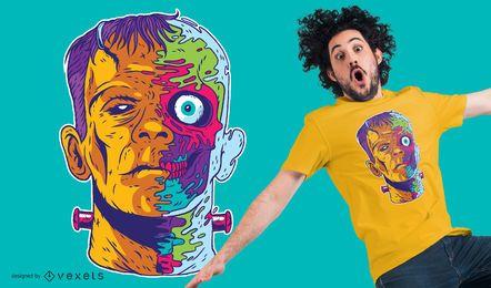 Diseño de camiseta psicodélico de Frankenstein