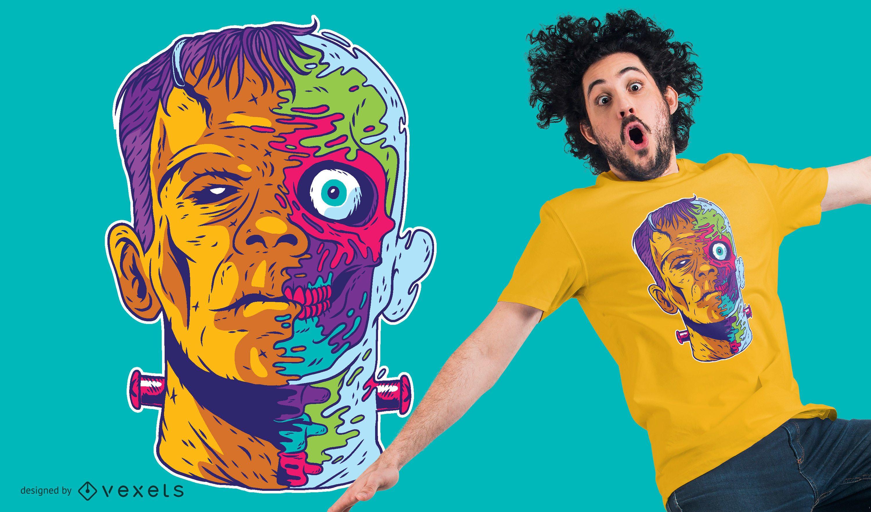 Dise?o de camiseta psicod?lico de Frankenstein