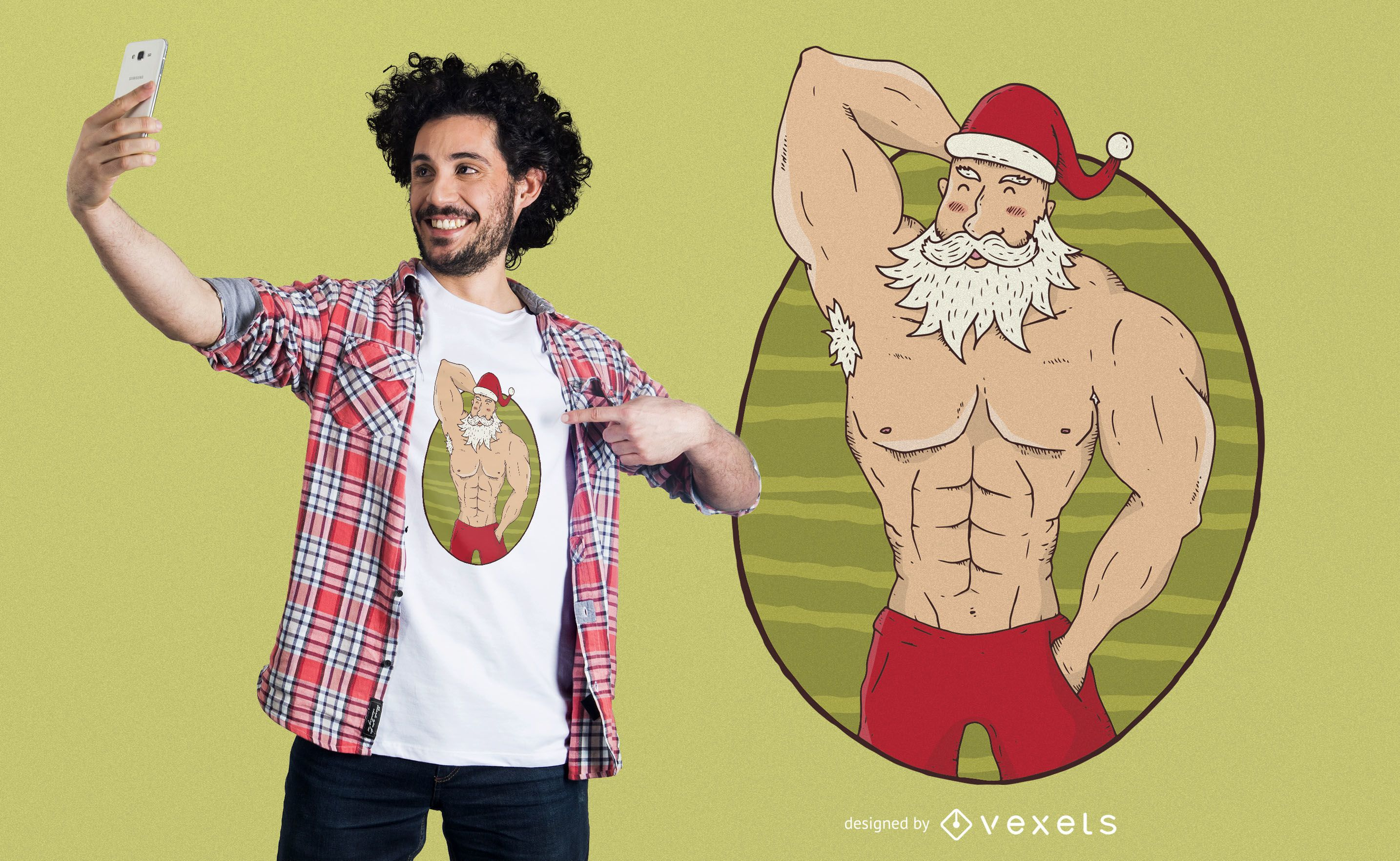 Buff Santa T-Shirt Design
