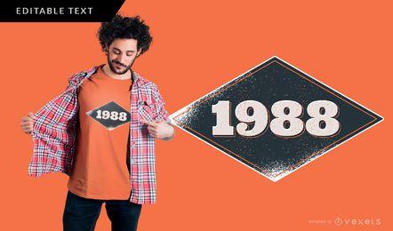 Diseño de camiseta vintage 1988