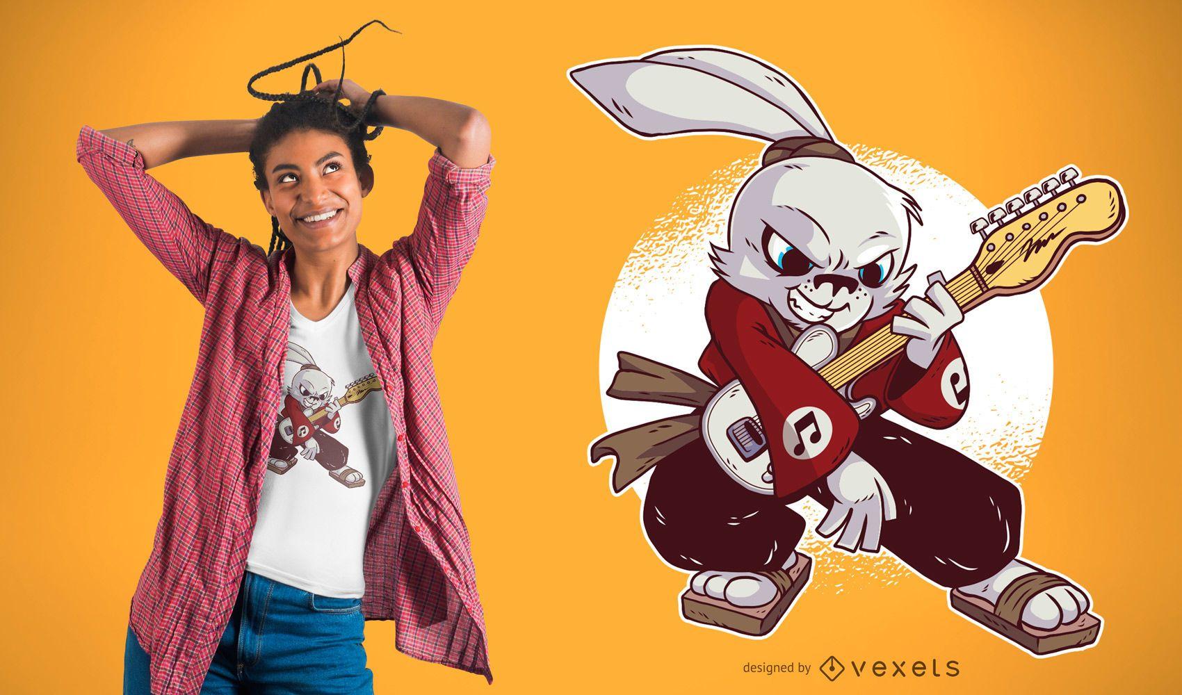 Camiseta Samurai Guitarist Rabbit