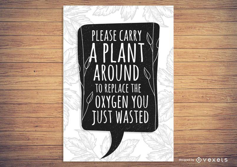 Cartel del oxígeno de la planta