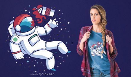 Diseño de camiseta de astronauta Frappuccino